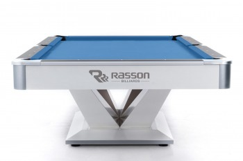 Pool-Billardtisch Rasson Victory II+ 8ft. weiss, Tuch Simonis 760 tournamentblue