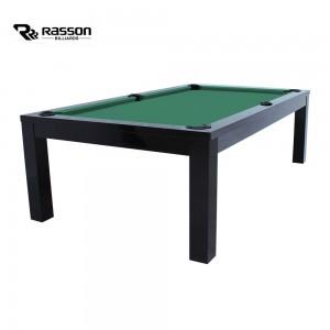 Pool-Billardtisch Rasson Penelope II 8ft, schwarz-glänzend, Tuch Standard gelbgrün