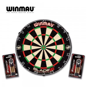 Dartboard Winmau Set, Blade 5 + 2x Set Steeldarts Broadside