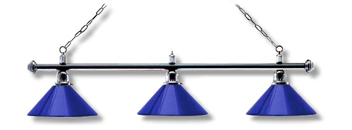 Billardlampe London chrom 3 x blau
