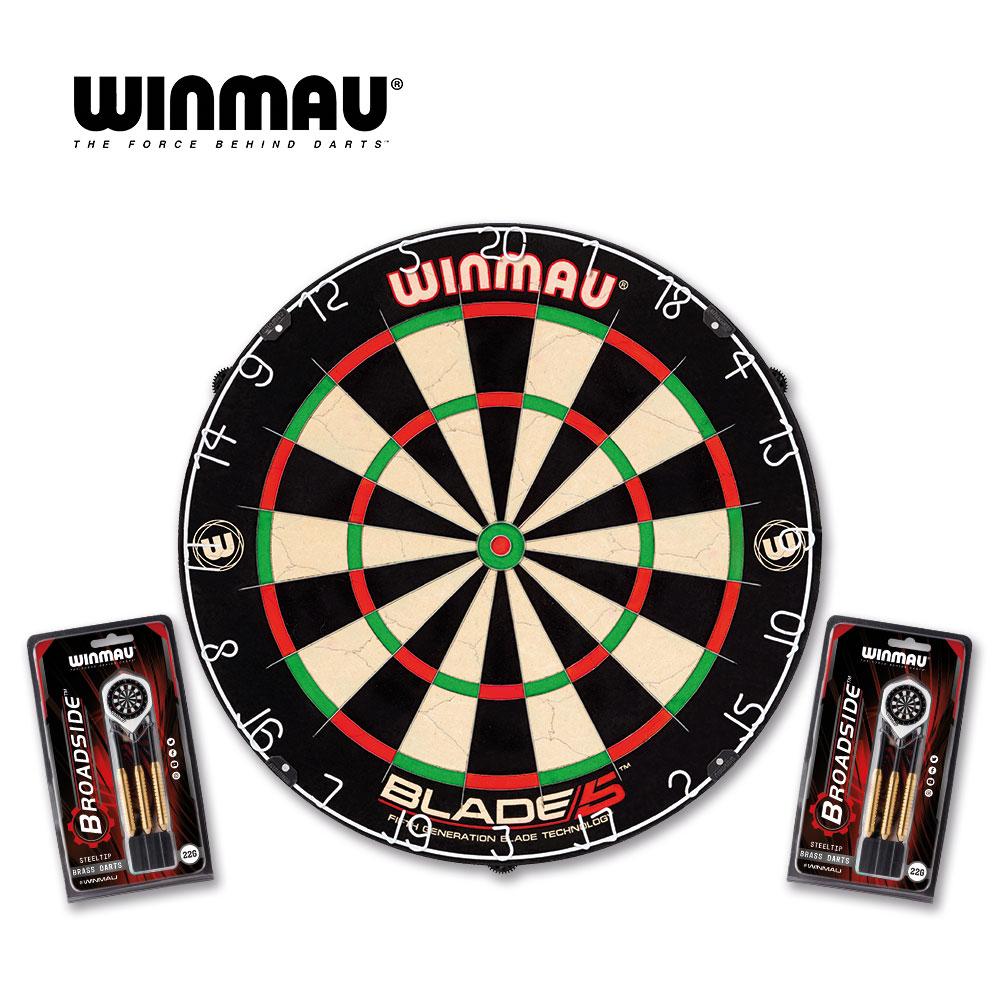 Dartboard Winmau Set, Blade 5 + 2x Set Steeldarts Broadside (LIEFERBAR AB CA. MITTE APRIL)